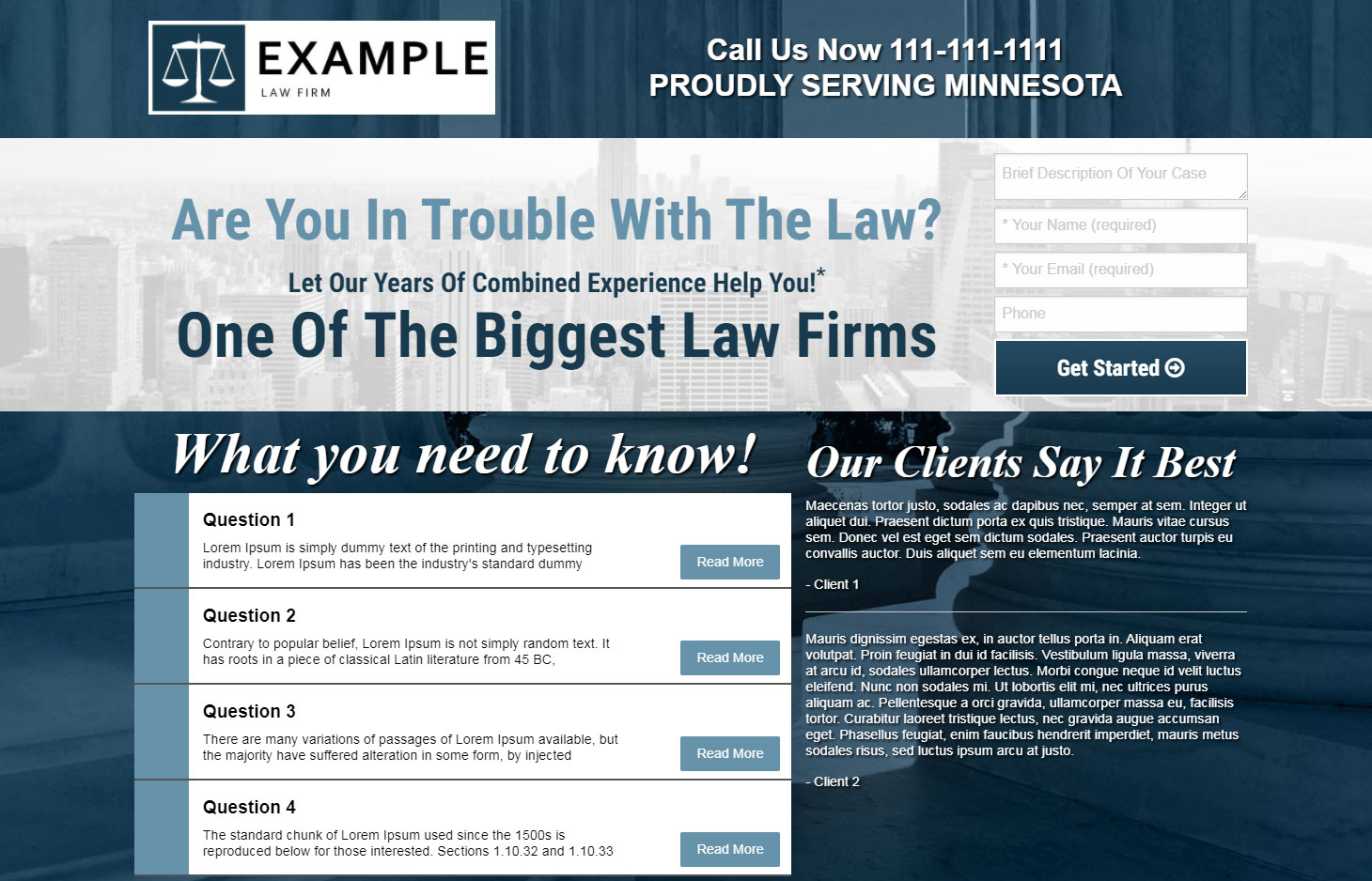 Example law firm landing page