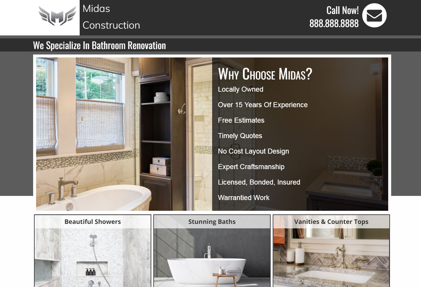Bathroom construction company's landing page
