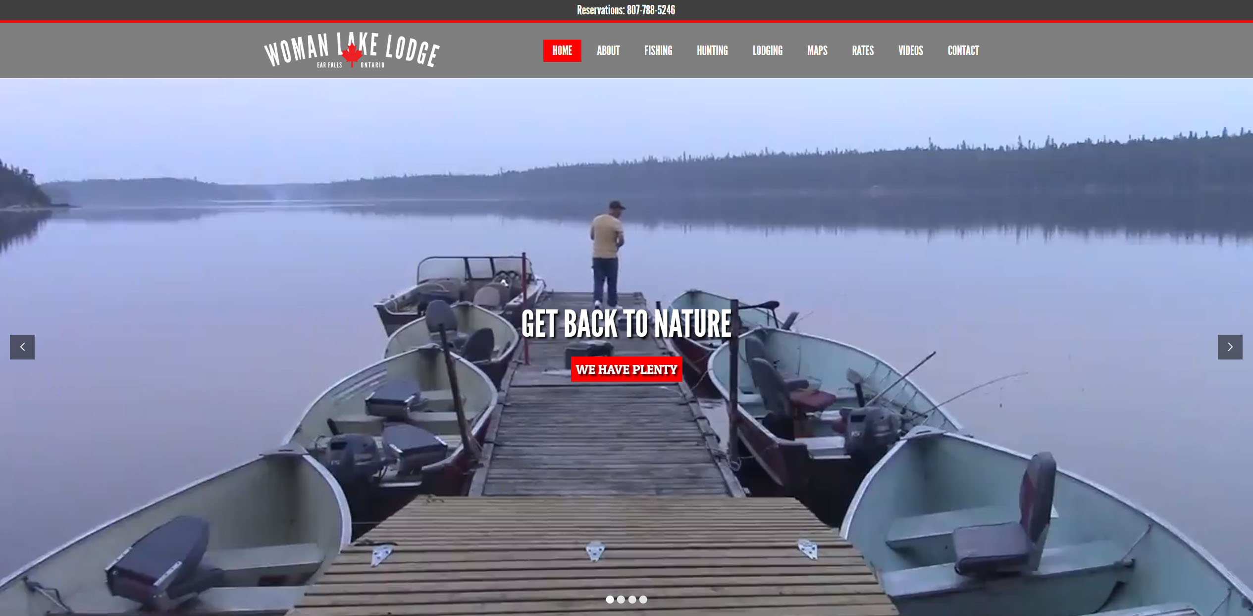 Woman Lake Lodge's current home page